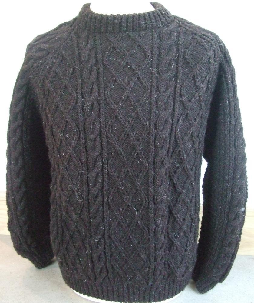Handknitted Crew Neck Aran Sweater in Natural Black - £188 ...